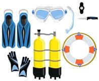 Ένα σύνολο για την κατάδυση - μια μάσκα με έναν σωλήνα, μπαλόνια με τον αέρα, ένα μαχαίρι, ένα ρολόι, πτερύγια ελεύθερη απεικόνιση δικαιώματος