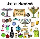 Ένα σύνολο γραφικών στοιχείων χρώματος στις εβραϊκές διακοπές Hanukkah Doodle, εγγραφή ο συντάκτης σύρει το χέρι ι σκίτσο εικόνων