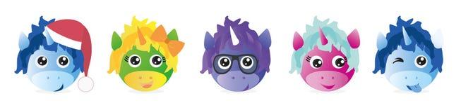 Ένα σύνολο γραφικών emoticons - μονόκερος Συλλογή Emoji Εικονίδια χαμόγελου διανυσματική απεικόνιση
