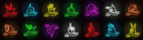 Ένα σύνολο δεκατεσσάρων παραλλαγών των πολύχρωμων σημαδιών νέου σε ένα υπόβαθρο τουβλότοιχος Διαφορετικές χειρονομίες χεριών διανυσματική απεικόνιση