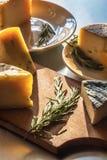 Ένα σύνολο διάφορων τυριών αγροτών, με το δεντρολίβανο στοκ φωτογραφία