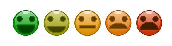 Ένα σύνολο διανύσματος εκτίμησης ικανοποίησης χαμόγελων ελεύθερη απεικόνιση δικαιώματος
