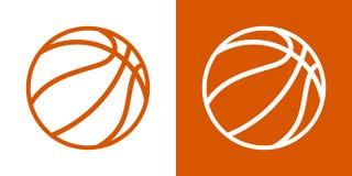 Ένα σύνολο δύο επιλογών για τα απλά εικονίδια, περίγραμμα, σφαίρες για την καλαθοσφαίριση Σε ένα άσπρο και πορτοκαλί υπόβαθρο απεικόνιση αποθεμάτων