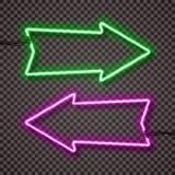 Ένα σύνολο δύο παραλλαγών χρώματος των λαμπτήρων νέου με τα καλώδια, διαμορφωμένος δείκτης βελών Πράσινος και ιώδης ελεύθερη απεικόνιση δικαιώματος