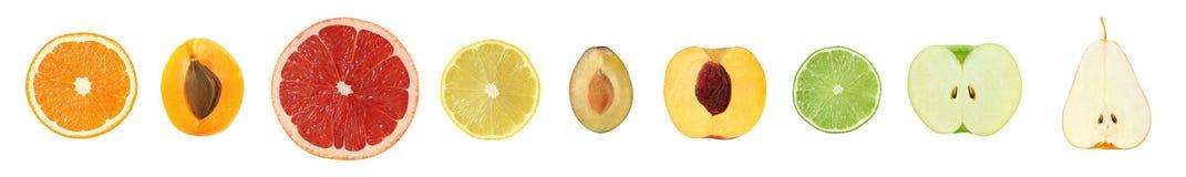 Ένα σύνολο εννέα διαφορετικών φρούτων περικοπών Γκρέιπφρουτ εσπεριδοειδών, πορτοκάλι, λ Στοκ φωτογραφία με δικαίωμα ελεύθερης χρήσης