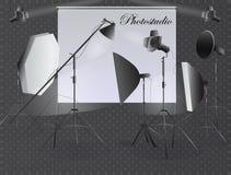Ένα σύνολο εξοπλισμού για το στούντιο φωτογραφιών Επίκεντρα για το στούντιο ελεύθερη απεικόνιση δικαιώματος