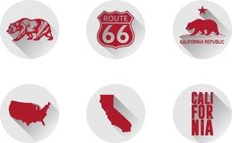 Ένα σύνολο επίπεδων εικονιδίων Καλιφόρνιας στοκ εικόνες