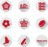 Ένα σύνολο επίπεδων εικονιδίων της Αγγλίας, ένα κράτος μέσα χώρα του Ηνωμένου Βασιλείου στοκ φωτογραφία με δικαίωμα ελεύθερης χρήσης
