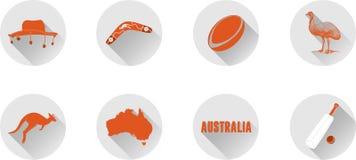 Ένα σύνολο επίπεδων εικονιδίων της Αυστραλίας στοκ εικόνες με δικαίωμα ελεύθερης χρήσης