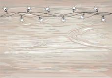 Ένα σύνολο θερμών γιρλαντών λαμπών φωτός, διακοσμήσεις διακοπών Οι λαμπτήρες Φω'τα Χριστουγέννων πυράκτωσης Διάνυσμα στο ξύλινο υ ελεύθερη απεικόνιση δικαιώματος