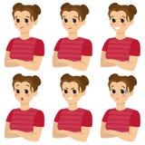 Ένα σύνολο θηλυκών συγκινήσεων Χειρονομία r στοκ εικόνες με δικαίωμα ελεύθερης χρήσης