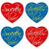 Ένα σύνολο καρδιών για τα αναμνηστικά στο θέμα Σουηδία, Στοκχόλμη στα εθνικά χρώματα διάνυσμα στοκ εικόνες
