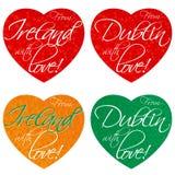 Ένα σύνολο καρδιών για τα αναμνηστικά στο θέμα της Ιρλανδίας, Δουβλίνο στα εθνικά χρώματα διάνυσμα στοκ φωτογραφίες με δικαίωμα ελεύθερης χρήσης
