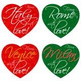 Ένα σύνολο καρδιών για τα αναμνηστικά στο θέμα της Ιταλίας, Ρώμη, Βενετία, Μιλάνο στα εθνικά χρώματα διάνυσμα στοκ φωτογραφία με δικαίωμα ελεύθερης χρήσης