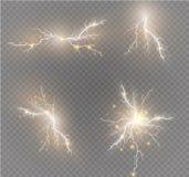 Ένα σύνολο μαγικών και φωτεινών ελαφριών αποτελεσμάτων αστραπής επίσης corel σύρετε το διάνυσμα απεικόνισης Ηλεκτρικό ρεύμα απαλλ Στοκ φωτογραφίες με δικαίωμα ελεύθερης χρήσης