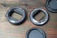 Ένα σύνολο μακρο δαχτυλιδιών για να αντικαταστήσει το μακρο-στόχο Στοκ Εικόνες