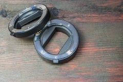 Ένα σύνολο μακρο δαχτυλιδιών για να αντικαταστήσει το μακρο-στόχο Στοκ φωτογραφία με δικαίωμα ελεύθερης χρήσης