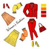 Ένα σύνολο μοντέρνων ενδυμάτων, παπουτσιών και εξαρτημάτων για τις γυναίκες ελεύθερη απεικόνιση δικαιώματος