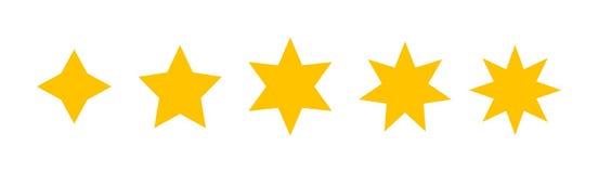Ένα σύνολο πέντε διαφορετικών αστεριών εκτέλεσε στο επίπεδο σχέδιο Στοκ Φωτογραφία