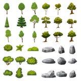 Ένα σύνολο πετρών, δέντρων και Μπους των στοιχείων τοπίων για το σχέδιο του κήπου, του πάρκου, των παιχνιδιών και των εφαρμογών απεικόνιση αποθεμάτων
