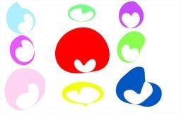 Ένα σύνολο 9 πολύχρωμων καρδιών των λεκέδων, κόκκινο, πράσινο, ροζ, ελεύθερη απεικόνιση δικαιώματος