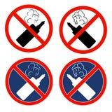 Ένα σύνολο σημαδιών με τα ηλεκτρονικά τσιγάρα μια απαγόρευση στο κάπνισμα ελεύθερη απεικόνιση δικαιώματος