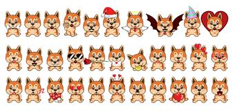 Ένα σύνολο σκυλιών με τις καρδιές στην ημέρα βαλεντίνων s διανυσματική απεικόνιση
