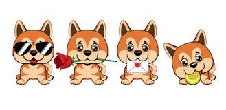 Ένα σύνολο σκυλιών με τις καρδιές στην ημέρα βαλεντίνων ` s διανυσματική απεικόνιση