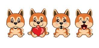 Ένα σύνολο σκυλιών με τις καρδιές στην ημέρα βαλεντίνων ` s ελεύθερη απεικόνιση δικαιώματος