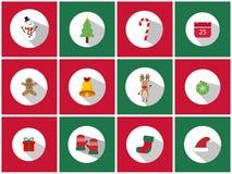 Ένα σύνολο 12 συνόλου εικονιδίων Χριστουγέννων Τα εικονίδια ημέρας των Χριστουγέννων μπορούν να χρησιμοποιηθούν στην επιχείρηση δ Στοκ Φωτογραφίες
