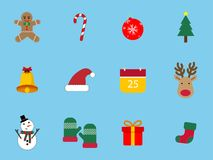 Ένα σύνολο 12 συνόλου εικονιδίων Χριστουγέννων Τα εικονίδια ημέρας των Χριστουγέννων μπορούν να χρησιμοποιηθούν στην επιχείρηση δ Στοκ φωτογραφία με δικαίωμα ελεύθερης χρήσης