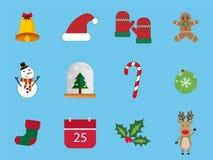 Ένα σύνολο 12 συνόλου εικονιδίων Χριστουγέννων Τα εικονίδια ημέρας των Χριστουγέννων μπορούν να χρησιμοποιηθούν στην επιχείρηση δ Στοκ φωτογραφίες με δικαίωμα ελεύθερης χρήσης