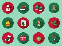 Ένα σύνολο 12 συνόλου εικονιδίων Χριστουγέννων Τα εικονίδια ημέρας των Χριστουγέννων μπορούν να χρησιμοποιηθούν στην επιχείρηση δ Στοκ εικόνα με δικαίωμα ελεύθερης χρήσης