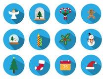 Ένα σύνολο 12 συνόλου εικονιδίων Χριστουγέννων Τα εικονίδια ημέρας των Χριστουγέννων μπορούν να χρησιμοποιηθούν στην επιχείρηση δ Στοκ Φωτογραφία