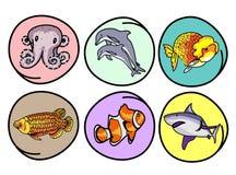 Ένα σύνολο υδρόβιου ζώου στη στρογγυλή ανασκόπηση Στοκ εικόνες με δικαίωμα ελεύθερης χρήσης