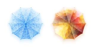 Ένα σύνολο φωτεινών εικόνων των ομπρελών επίσης corel σύρετε το διάνυσμα απεικόνισης Προστασία από τη βροχή και τον ήλιο air open Στοκ Φωτογραφία