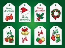 Ένα σύνολο Χριστουγέννων αντιτίθεται - ένα στεφάνι, σφαίρες, διακοσμήσεις, δώρα, κάλτσες, μπότες Στοκ Εικόνες