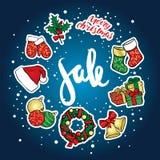 Ένα σύνολο Χριστουγέννων αντιτίθεται - ένα στεφάνι, σφαίρες, διακοσμήσεις, δώρα, κάλτσες, μπότες Στοκ φωτογραφία με δικαίωμα ελεύθερης χρήσης