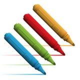 Ένα σύνολο χρωματισμένων δεικτών που απομονώνεται σε ένα άσπρο υπόβαθρο επίσης corel σύρετε το διάνυσμα απεικόνισης Στοκ Εικόνες