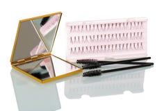 Ένα σύνολο ψεύτικων δεσμών eyelashes, βούρτσα για την εφαρμογή mascara και Στοκ Εικόνες
