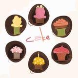 Ένα σύνολο 6 διαφορετικών κέικ Στοκ Εικόνες
