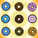 Ένα σύνολο donuts Στοκ εικόνες με δικαίωμα ελεύθερης χρήσης