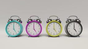 Ένα σύνολο αναδρομικών ορισμένων ξυπνητηριών CMYK απεικόνιση αποθεμάτων