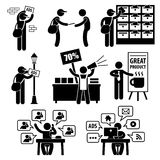 Εικονογράμματα εμπορικής στρατηγικής διαφημίσεων διανυσματική απεικόνιση