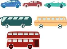 Ένα σύνολο αυτοκινήτων και λεωφορείων Συλλογή των οχημάτων στο ύφος κινούμενων σχεδίων Διανυσματική απεικόνιση για τα παιδιά Μετα Στοκ Εικόνες