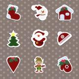 Ένα σύνολο αυτοκόλλητων ετικεττών Χριστουγέννων των παιδιών ελεύθερη απεικόνιση δικαιώματος