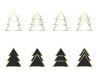 Ένα σύνολο γεωμετρικών χριστουγεννιάτικων δέντρων Στοκ Εικόνες