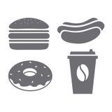 Ένα σύνολο γκρίζων εικονιδίων για το γρήγορο φαγητό Στοκ φωτογραφία με δικαίωμα ελεύθερης χρήσης