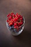 Ένα σύνολο γυαλιού των νόστιμων βακκινίων και των κόκκινων σταφίδων σε ένα καφετί BA στοκ εικόνες