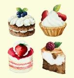 Ένα σύνολο γλυκών cupcakes Στοκ Εικόνες